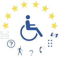 Wheelchair User sitting under a semicircle of 8 gold star with 7 disability icons below them.